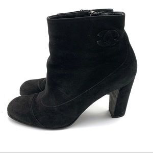 Chanel Suede Heeled Ankle Boots Black